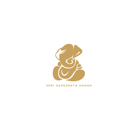 Lord Ganesh on white background vector illustration. Ilustrace
