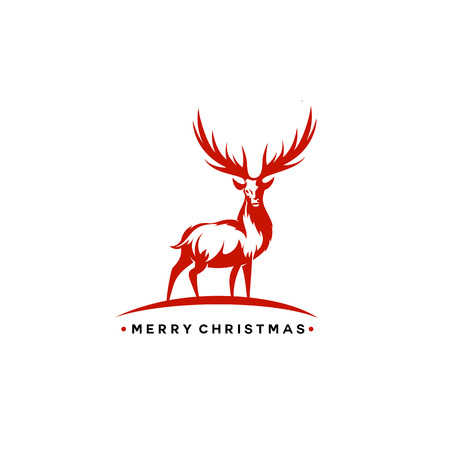 Christmas deer vector illustration. Иллюстрация