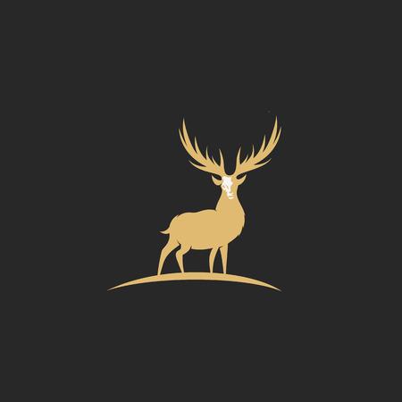 minimal logo of golden deer on black background vector illustration design.
