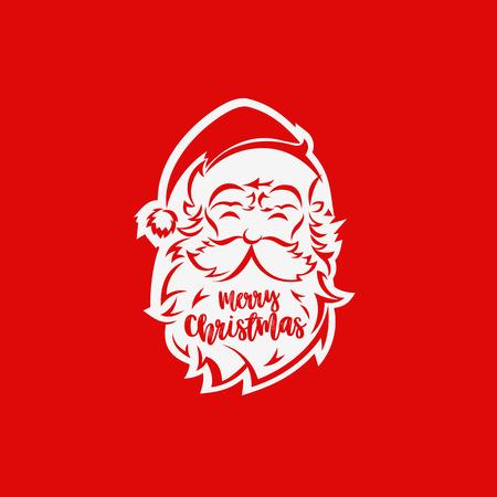 White santa claus face vector illustration