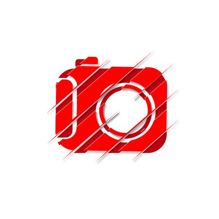 Red camera on white background vector illustration design.