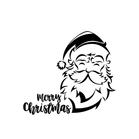Minimal logo of Santa claus on white background with typography vector illustration design. 일러스트