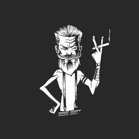 cartoon character smoking a cigarette on black background vector illustration design.