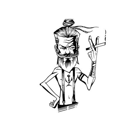 A man is smoking vector illustration. Vectores