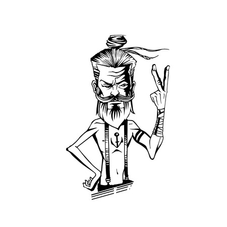 old man raising a hand and showing two fingures on white background vector illustration design. Иллюстрация