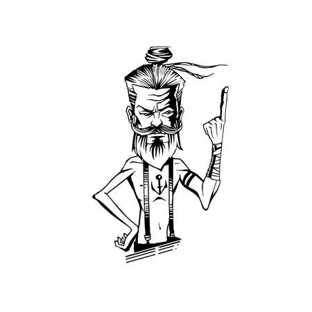 A man is showing index finger on white background vector illustration design.