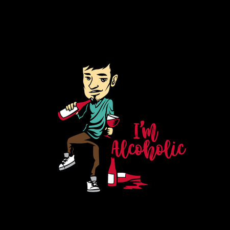 Young drunk guy with bottles in hand on black background with typography vector illustration design.