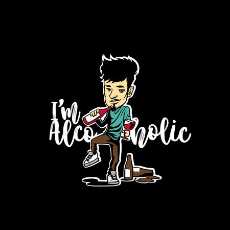 minimal logo of alcoholic guy on black background vector illustration design Иллюстрация