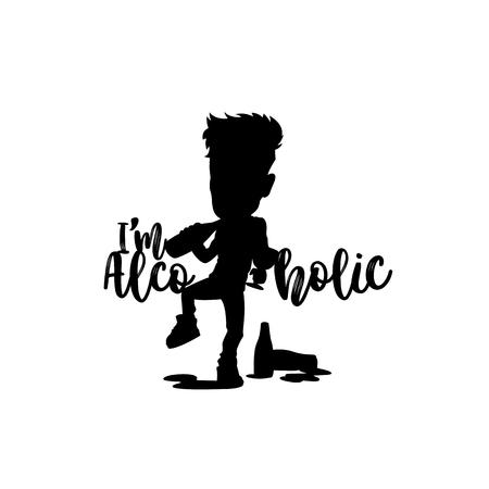 Drinking alcoholic logo vector illustration.  イラスト・ベクター素材