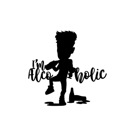 Drinking alcoholic logo vector illustration. Illustration