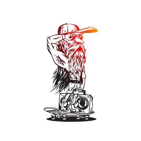 Cool boy on skateboard on white background vector illustration design.