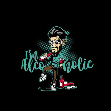 ワインボトルベクターイラストの男性。  イラスト・ベクター素材