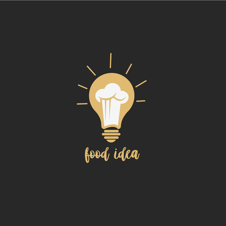 Minimal logo of food idea on black backround with typography vector illustration design.