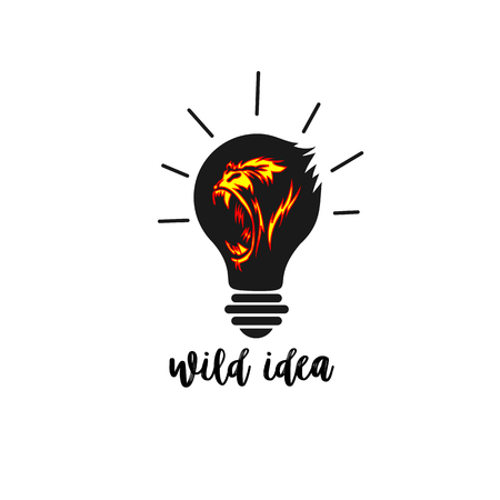 Wild idea icon on white backround with typography vector illustration design.
