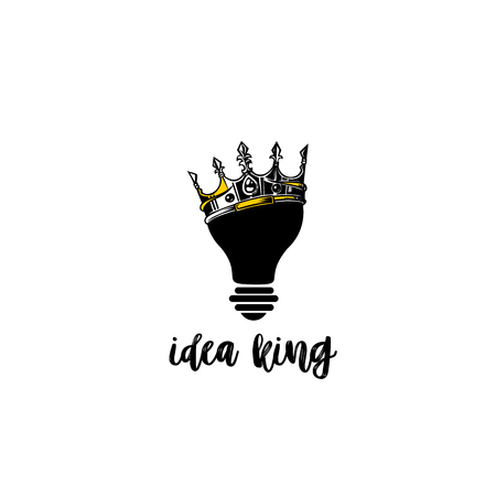 Creative idea king vector illustration, crown on bulb on white background with typography vector illustration design. Çizim