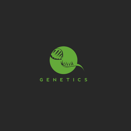 Dna genetic medicine biology on black background with typography vector illustration design. Ilustrace