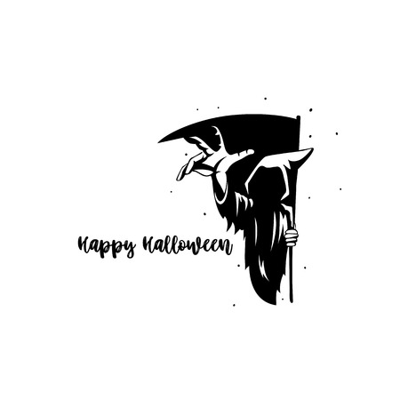 Happy halloween typography vector illustration design. Çizim