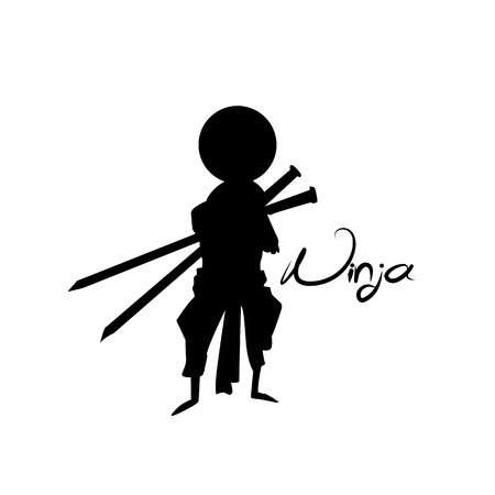 Silhouette ninja vector illustration. Çizim