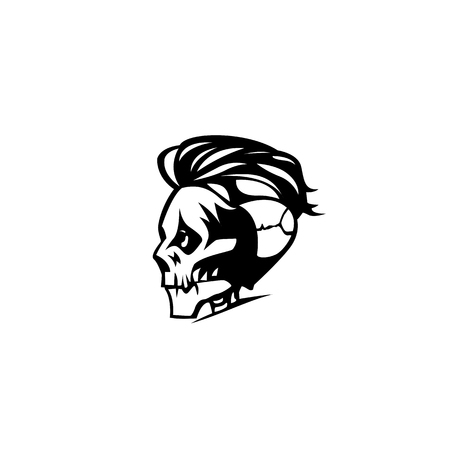 Skull with hair vector illustration