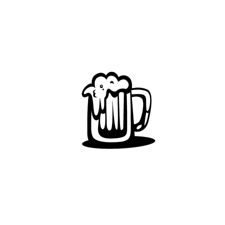Glass of beer icon,flat design with shadow vector illustration Фото со стока - 95742215