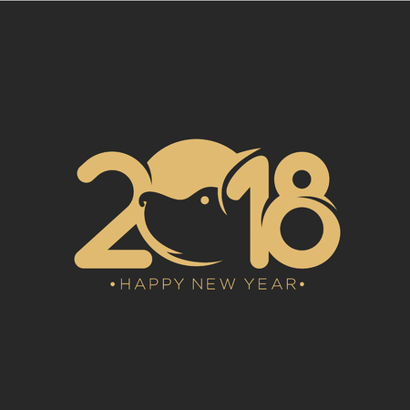 New year 2018 hand drawn vector illustartion Çizim