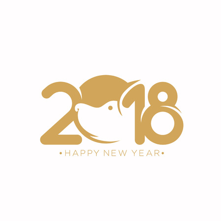 Happy new year 2018 vector illustration. Фото со стока - 95742406