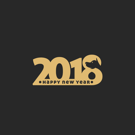 Happy New Year 2018 on black background vector illustration