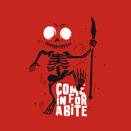 come in for a bite vector illustration.