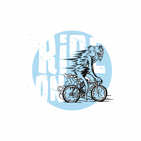 minimal logo of ride on bicycle vector illustration.