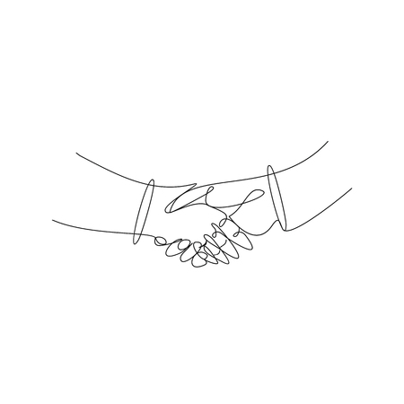 Business handshake line art vector illustration.