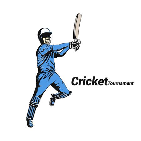 クリケット選手バットマンベクトルイラストデザイン。