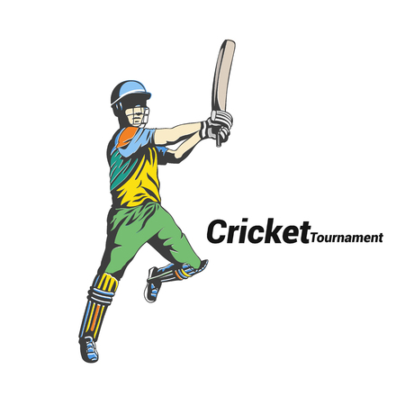Batsman returning the ball vector illustration.