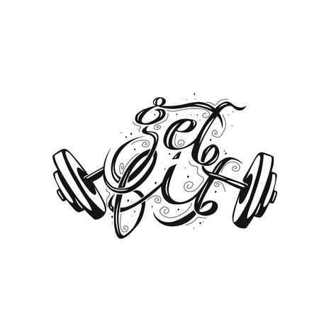 Minimal logo of broken weightlifting vector illustration. Vettoriali