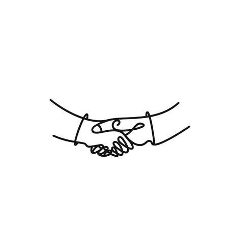 Vector art drawing of shaking hands of two male people.