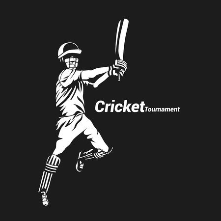 Minimal icon of cricket player vector illustration.