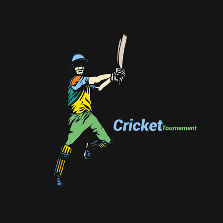 Batsman hitting cricket ball at tournament vector illustration. Ilustração