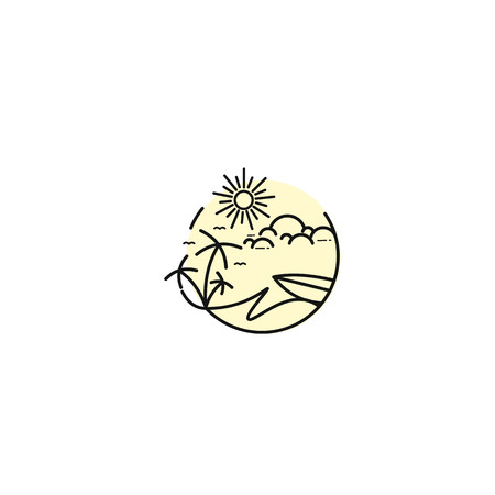 Island and palm modern vector illustration