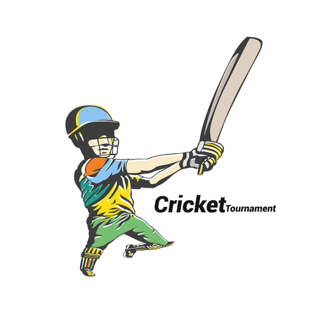 Colorful cricket player holding the bat vector illustration.