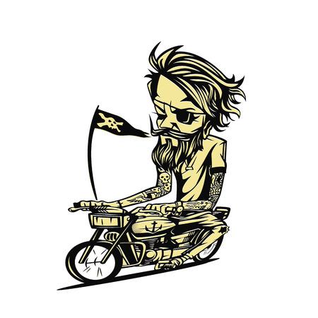 Yellowish bike rider on white background. Vector illustration.