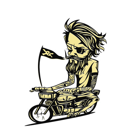 Yellowish bike rider on white background. Vector illustration.