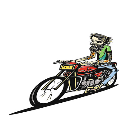 A man riding motorcycle on the road vector illustration. Ilustração