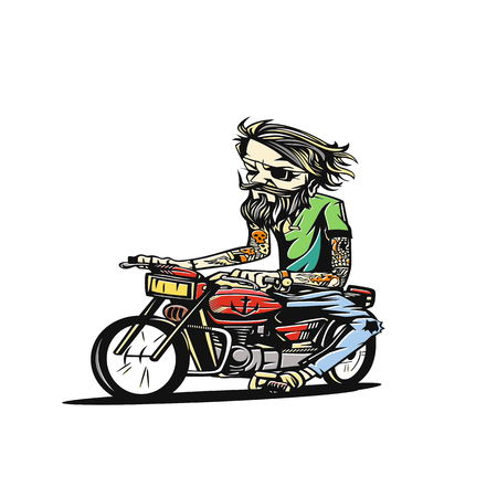 Man seat on the motorcycle vector illustration.