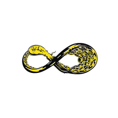 Infinity yellow octopus tentacle vector illustration design.