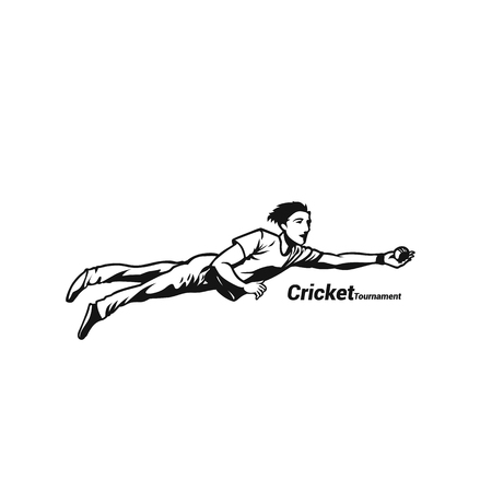 Boy diving for the cricketball catch vector illustration. Illustration
