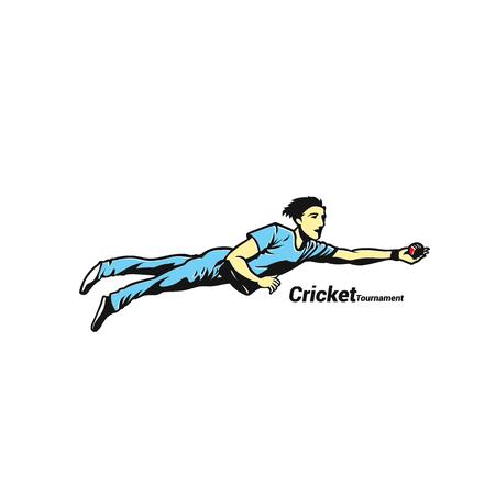 クリケット選手権での選手フィールディングのイラスト。  イラスト・ベクター素材