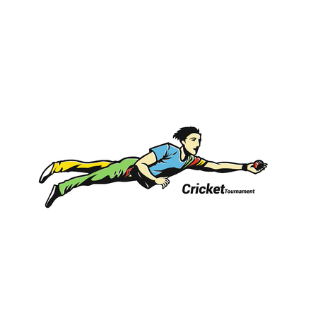 Cricketer catches a ball vector illustration design.