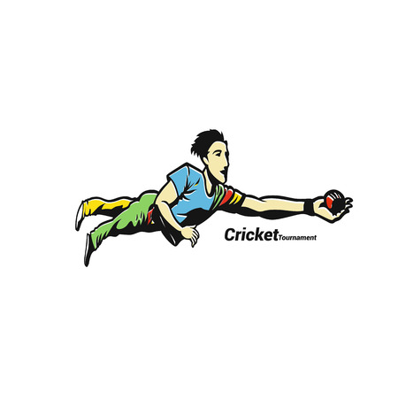 Player playing game of cricket in vector illustration.