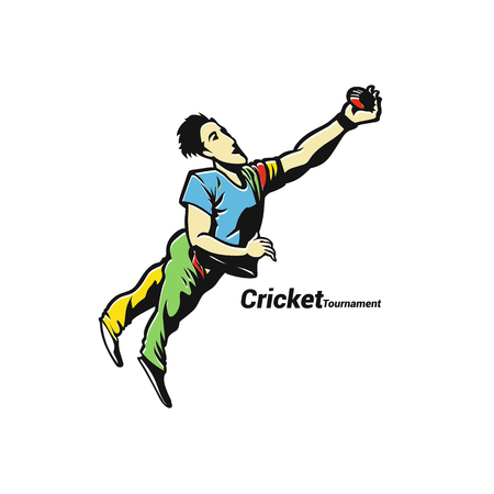 Full length of player diving to catch ball vector illustration.