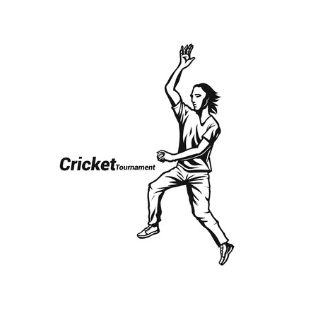Cricketer bowling a ball vector illustration.