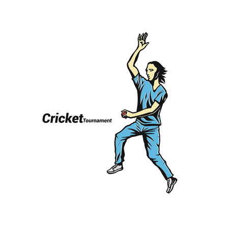 Cricket bowler ready to throw the ball vector illustration. Çizim